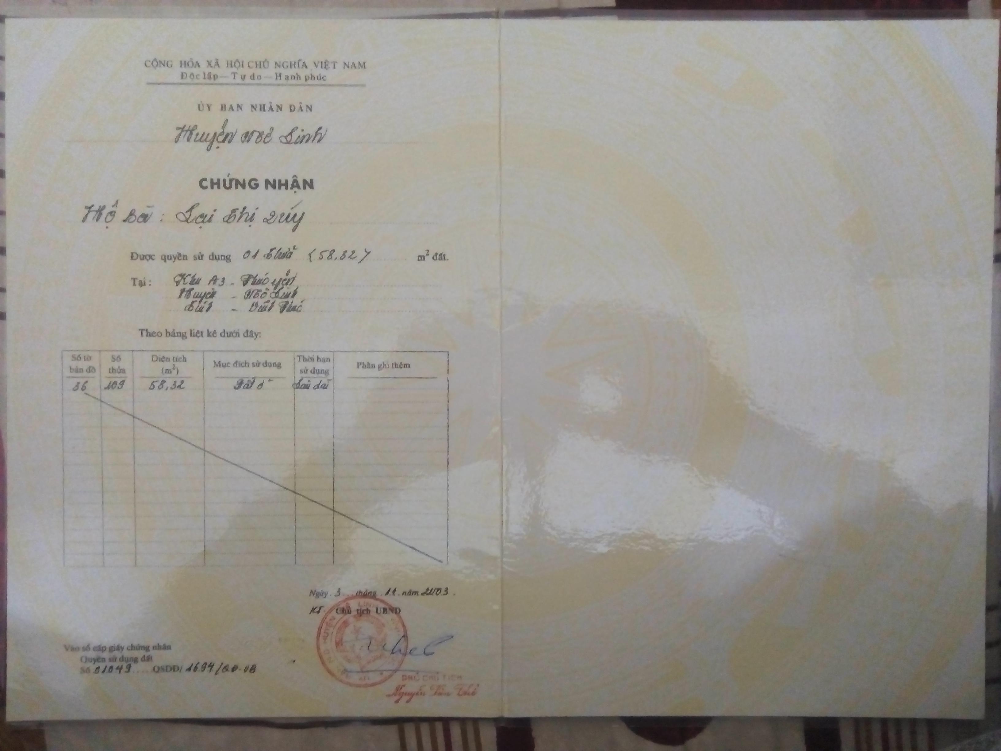 Cần bán đất sổ đỏ chính chủ tại số nhà 52 phố Lạc Long Quân, phường Hùng Vương, Phúc Yên